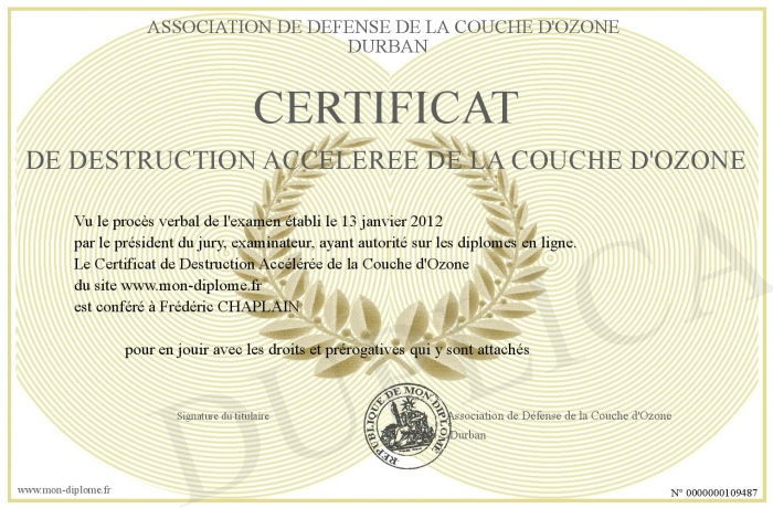 certificat de destruction acceleree de la couche d ozone. Black Bedroom Furniture Sets. Home Design Ideas