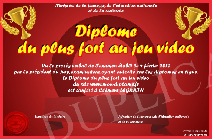 Diplome Du Plus Fort Au Jeu Video