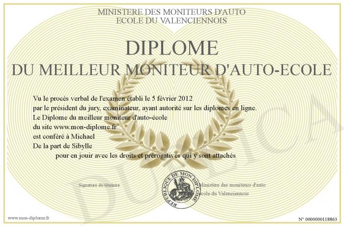 Diplome du meilleur moniteur d auto ecole for Meilleur moniteur