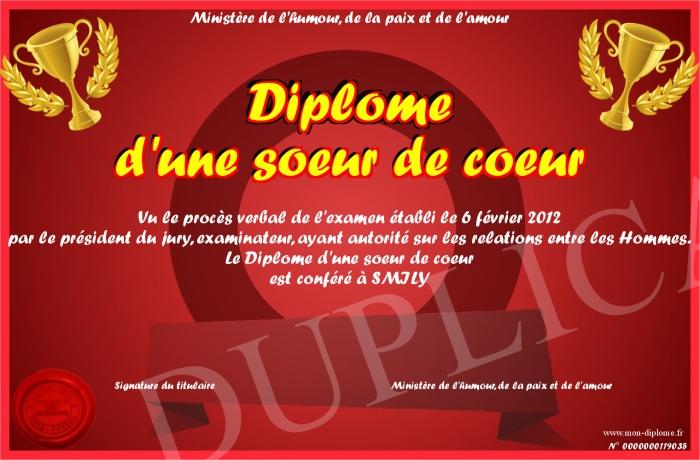 Diplome D Une Soeur De Coeur