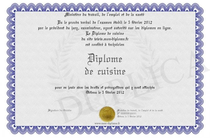 Diplome de cuisine - Diplome de cuisine a imprimer ...