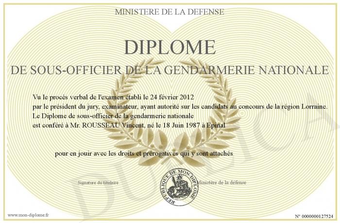 Diplome de sous officier de la gendarmerie nationale - Grille salaire sous officier gendarmerie ...