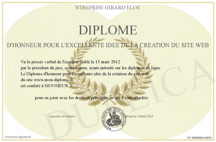 Diplome d honneur pour l excellente idee de la creation du for Idee pour site web