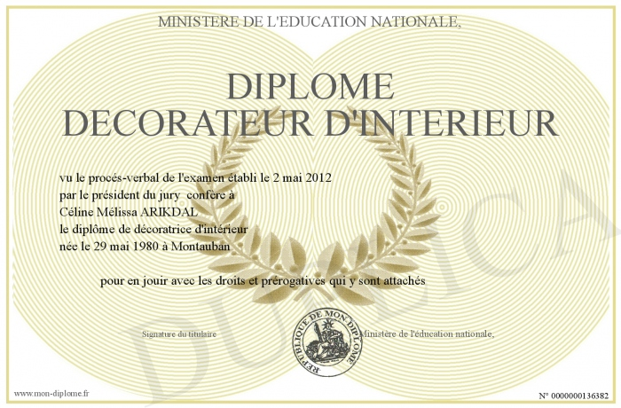 diplome decorateur d interieur