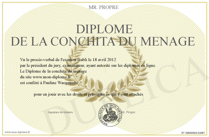Diplome de la conchita du menage for Conchita menage