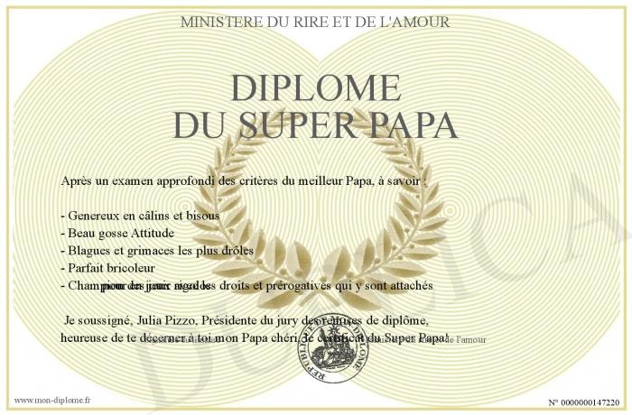 Diplome du super papa - Diplome du super papa a imprimer gratuit ...