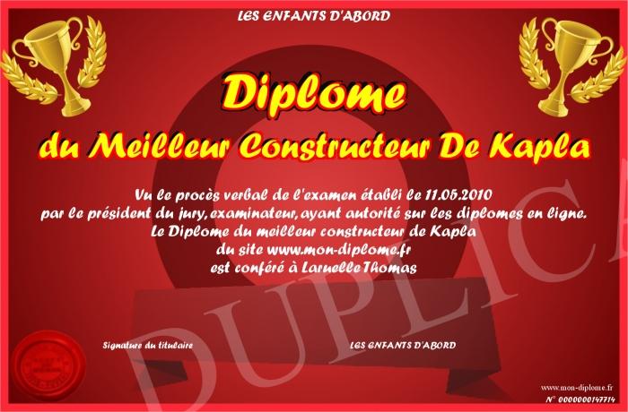 Diplome du meilleur constructeur de kapla for Meilleur constructeur