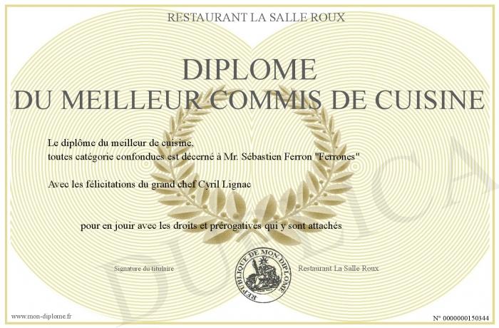 Diplome du meilleur commis de cuisine for Diplome de cuisine a imprimer
