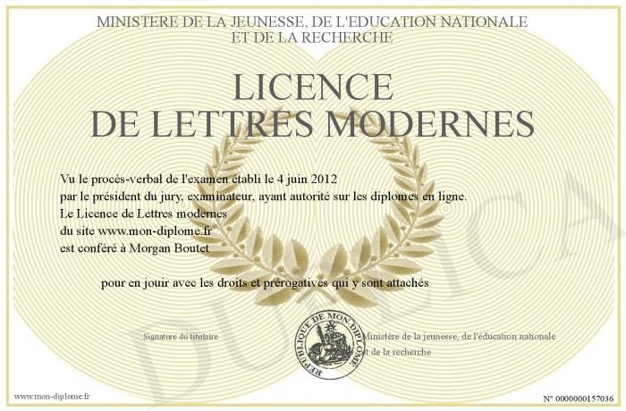 licence de lettres modernes