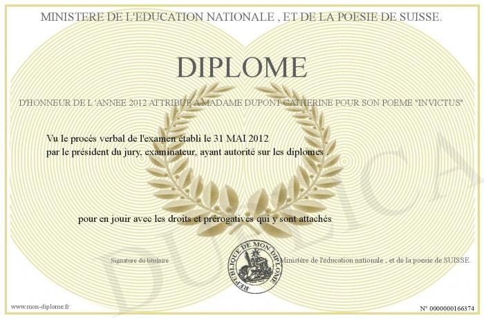 Diplome D Honneur De L Annee 2012 Attribue A Madame Dupont