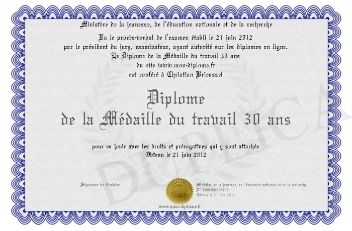 diplome de la medaille du travail 30 ans. Black Bedroom Furniture Sets. Home Design Ideas