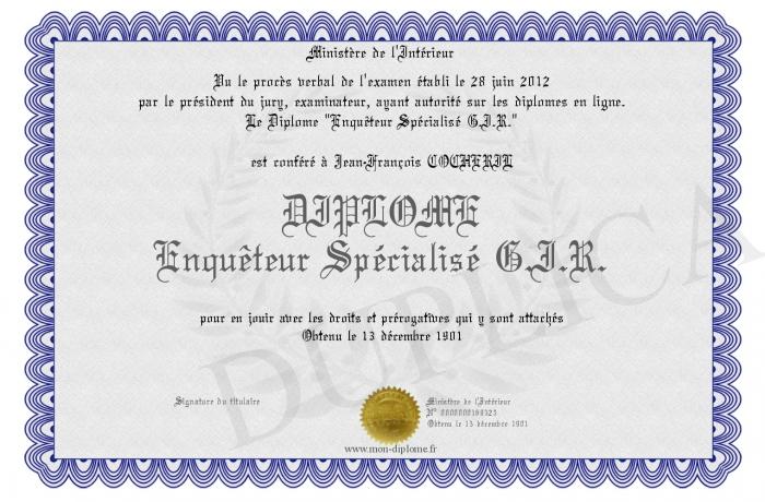 Diplome Enqueteur Specialise G I R