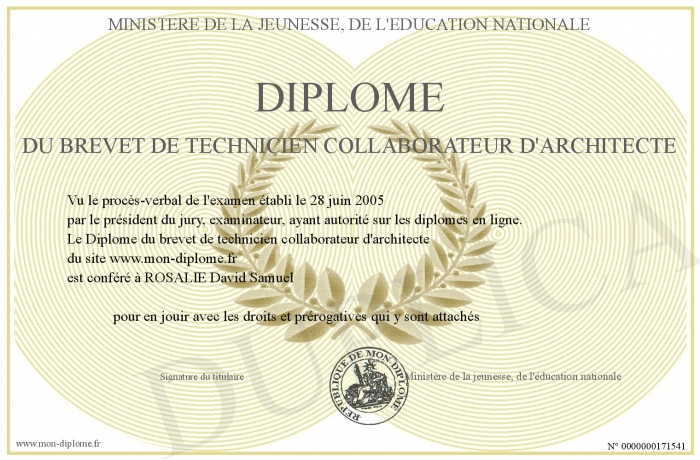 Diplome du brevet de technicien collaborateur d architecte for Collaborateur d architecte onisep