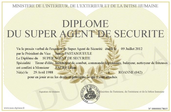 Diplome Du Super Agent De Securite
