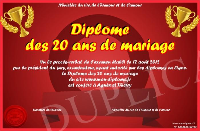 Diplome des 20 ans de mariage