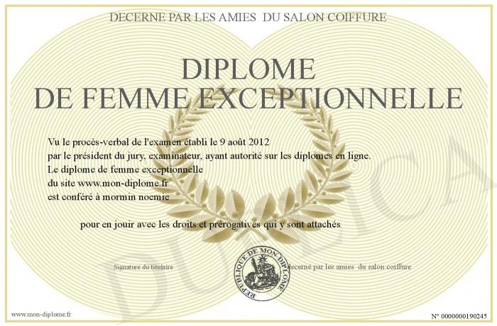 Diplome de femme exceptionnelle for Publication exceptionnelle