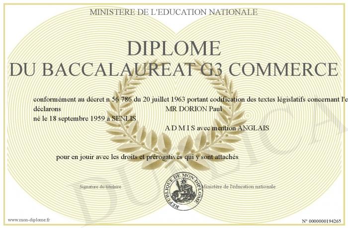 Diplome du baccalaureat g3 commerce for C du commerce