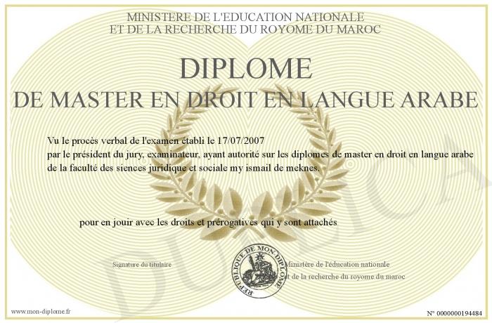 Célèbre Diplome-de-master-en-Droit-en-langue-arabe MR73