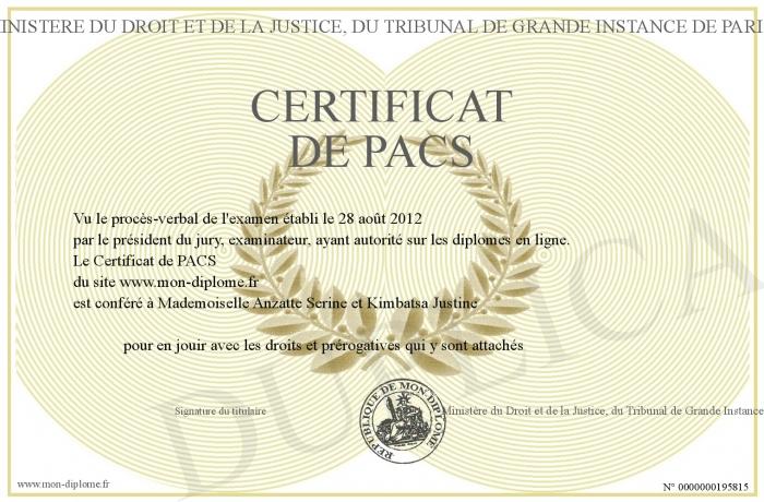 Certificat De Pacs