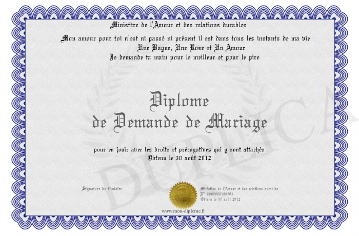 diplome de demande de mariage. Black Bedroom Furniture Sets. Home Design Ideas