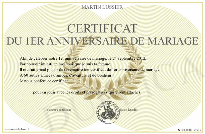 certificat du 1er anniversaire de mariage. Black Bedroom Furniture Sets. Home Design Ideas