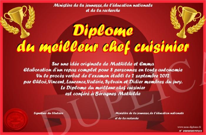 Diplome du meilleur chef cuisinier for Cuisinier humour