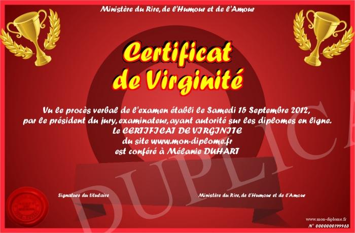Relativ Certificat-de-Virginite VH78