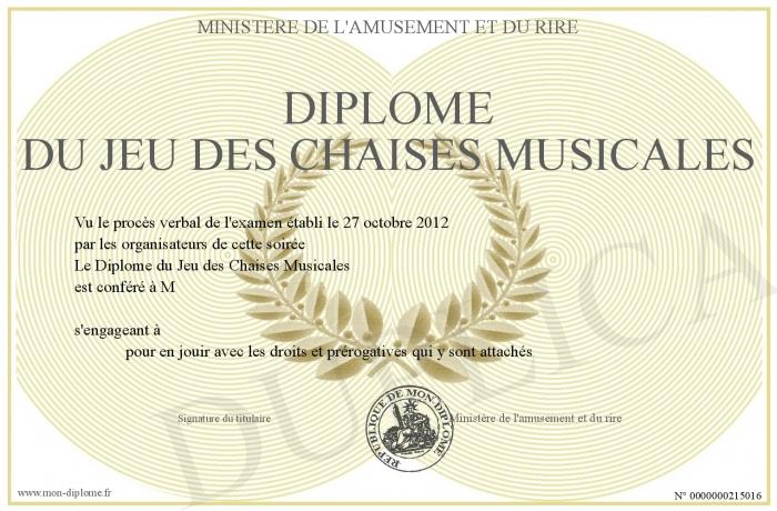 Diplome du jeu des chaises musicales - Jeu des chaises musicales mariage ...