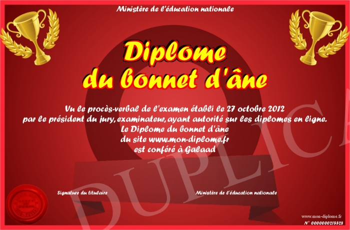 """Les """"Stupid Zèbres"""" c'est nous... - Page 17 700-215528-Dipl%C3%B4me%20du%20bonnet%20d'%C3%A2ne"""