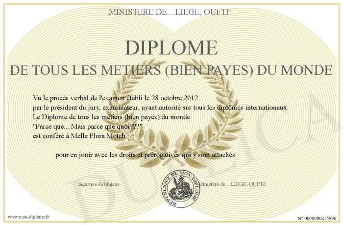 Diplome De Tous Les Metiers Bien Payes Du Monde