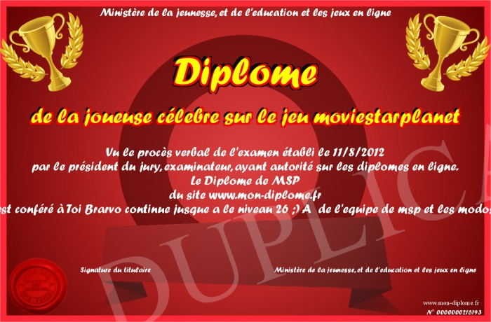 diplome de la joueuse celebre sur le jeu moviestarplanet. Black Bedroom Furniture Sets. Home Design Ideas