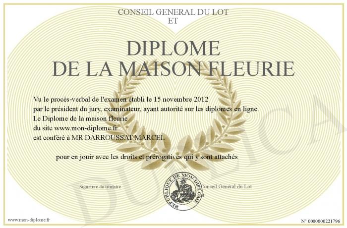 Diplome De La Maison Fleurie