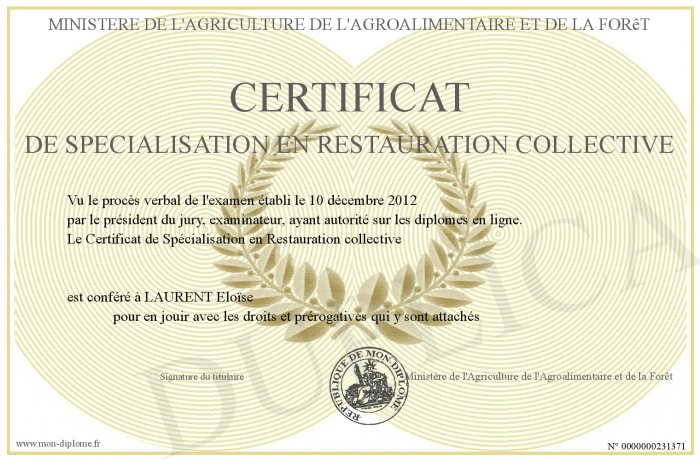 Certificat de specialisation en restauration collective for Diplome restauration collective