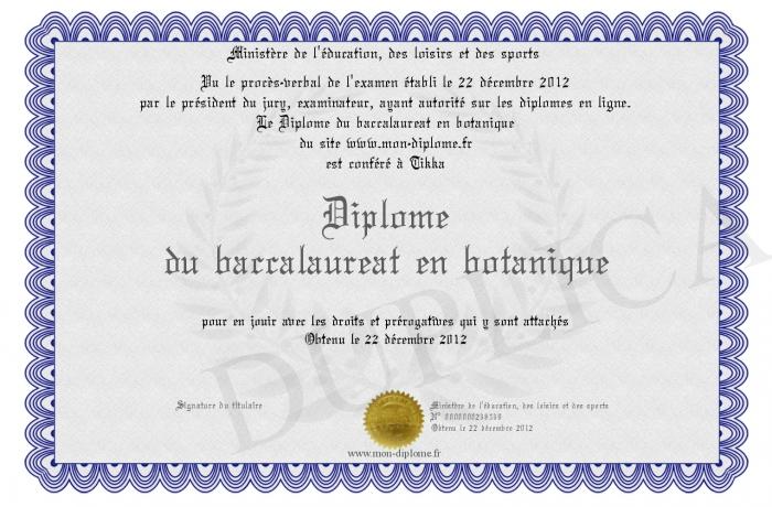 diplome universitaire botanique