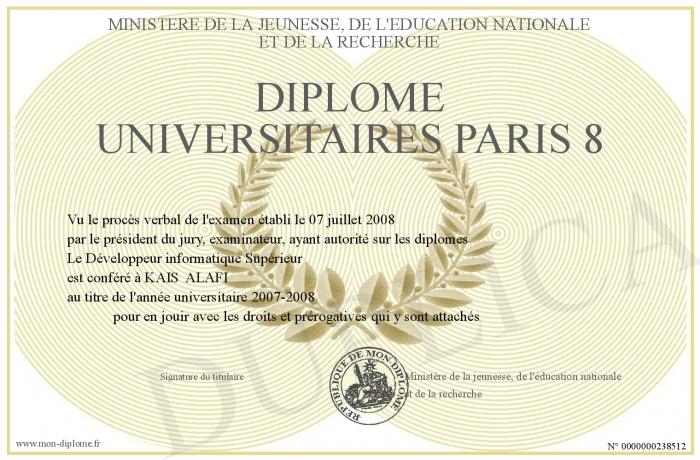 Diplome De Licence Paris