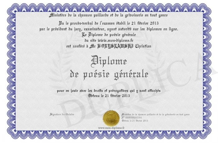 Diplome De Poesie Generale