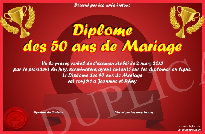 diplome des 50 ans de mariage. Black Bedroom Furniture Sets. Home Design Ideas