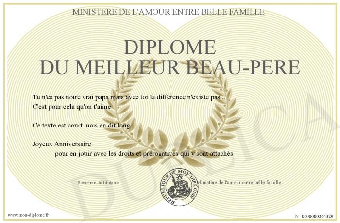 Diplome Du Meilleur Beau Pere