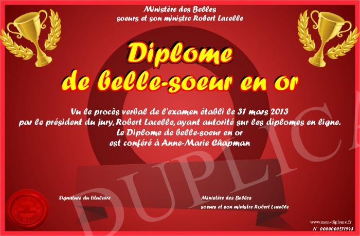 Diplome De Belle Soeur En Or