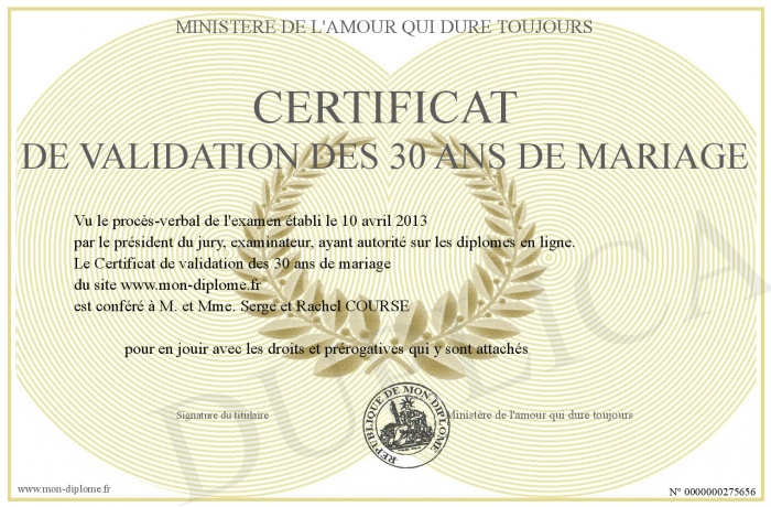certificat de validation des 30 ans de mariage. Black Bedroom Furniture Sets. Home Design Ideas