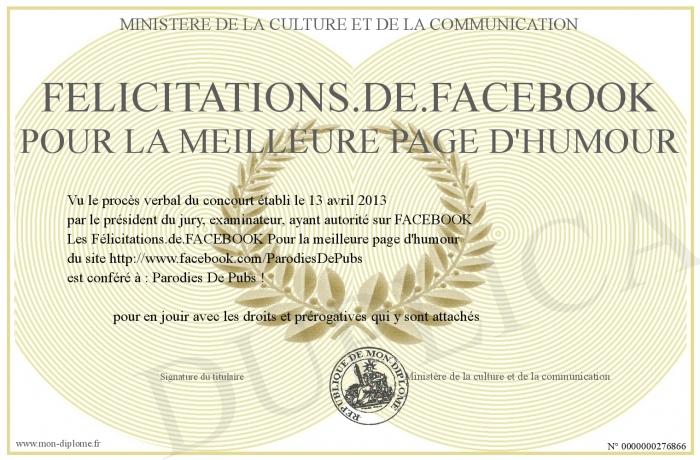 félicitations dans un com facebook