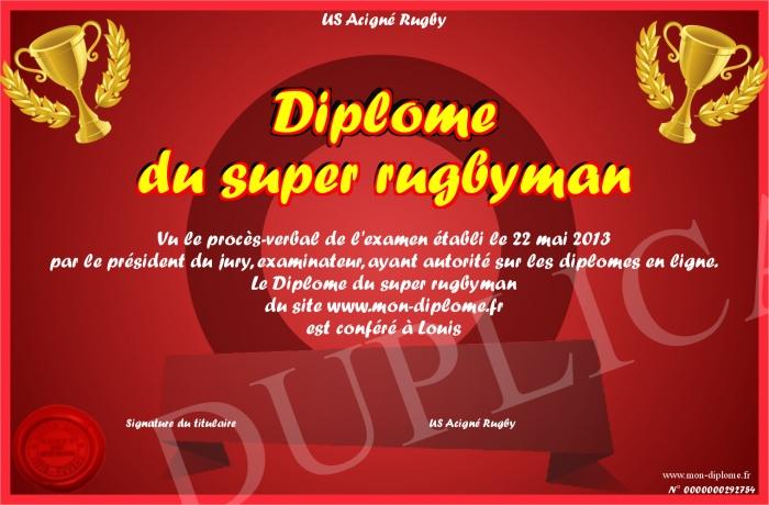Diplome Du Super Rugbyman