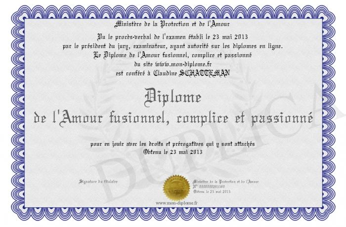Diplome De L Amour Fusionnel Complice Et Passionne