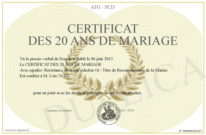 certificat des 20 ans de mariage. Black Bedroom Furniture Sets. Home Design Ideas