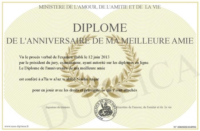 Diplome De L Anniversaire De Ma Meilleure Amie