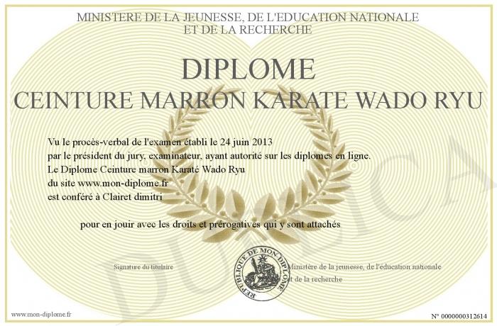 64af6367751 Diplome-Ceinture-marron-Karate-Wado-Ryu