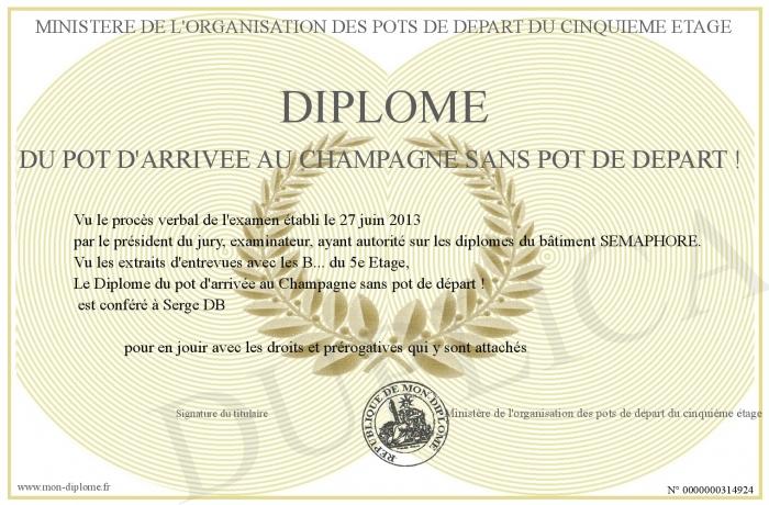 Diplome du pot d arrivee au champagne sans pot de depart - Gardien d immeuble sans diplome ...