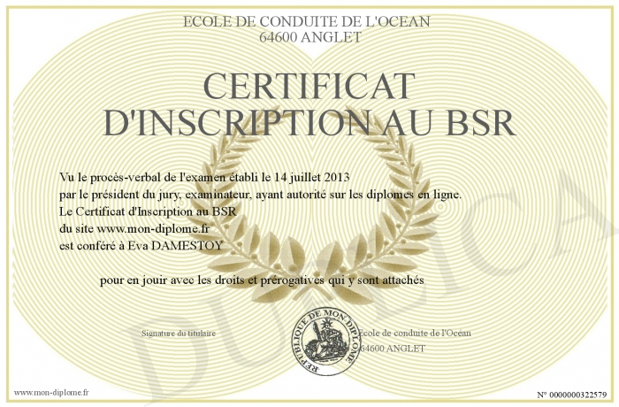 certificat d inscription au bsr. Black Bedroom Furniture Sets. Home Design Ideas