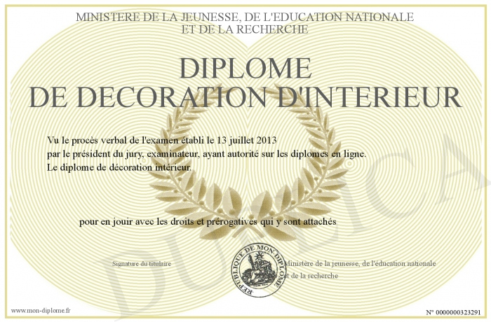 diplome de decoration d interieur