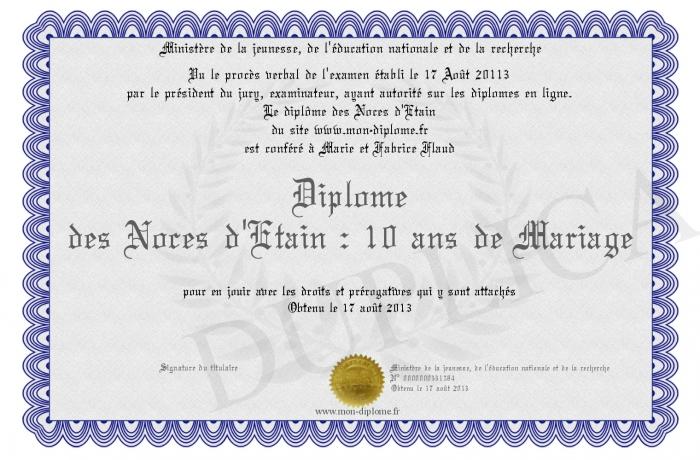 Diplome des noces d etain 10 ans de mariage - Cadeau 10 ans de mariage ...